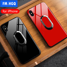 FM.HGQ Luxury Ring Holder Phone Case For iPhone X XS Magnetic Car Stand TPU+Ultra Thin Tempered Glass For iPhone XR XS MAX Case(China)
