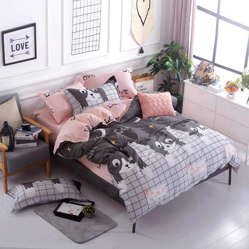 Blue pink gray cartoon / Simple size 4pcs Bedding sets Cotton bed sheet +duvet cover + pillowcase -Single or Student bedspread