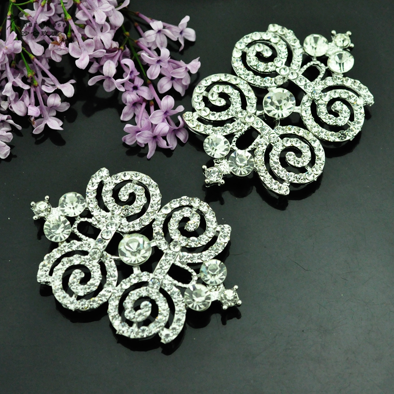 High grade  big rhinestone metal butterfly crown fish buckles buttons for fur coats and garment and cashmere coat clothing,