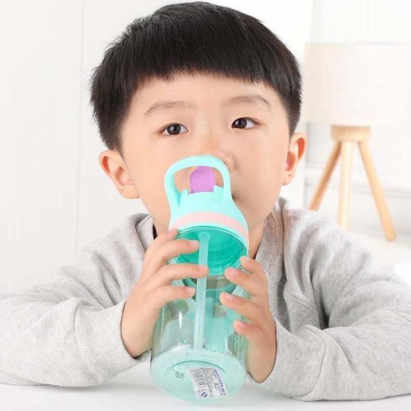 450ml Kids Water Bottle With Straw BPA Free Children Water Drinking Kettle Healthy Plastic Portable Sports Bottle 3