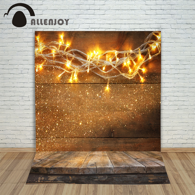 Christmas background vinyl Golden lights sparkle wood wall floor new born photo studio xmas backdrop background pictures