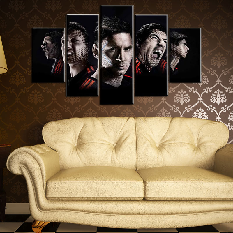 5 Pcs(No Frame) Lionel Messi Painting Canvas Wall Art Picture Home ...
