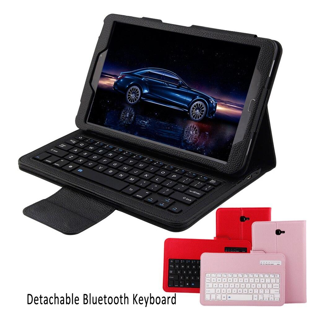 Tablet PC Sans Fil Bluetooth Clavier Klavye Stand Pliant En Cuir De Protection Cas de Couverture pour Samsung Galaxy Tab Un 10.1 T580 T581