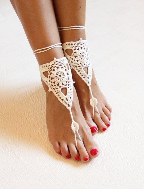 Strand bruiloft ivoor haak bruiloft barefoot Sandalen