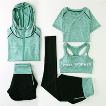 Nye Yoga drakter Damer Gym Klær Fitness Running Tracksuit Sports Bra + Sport Leggings + Yoga Shorts + Topp 5 Stykke Sett Plus Size M-3XL