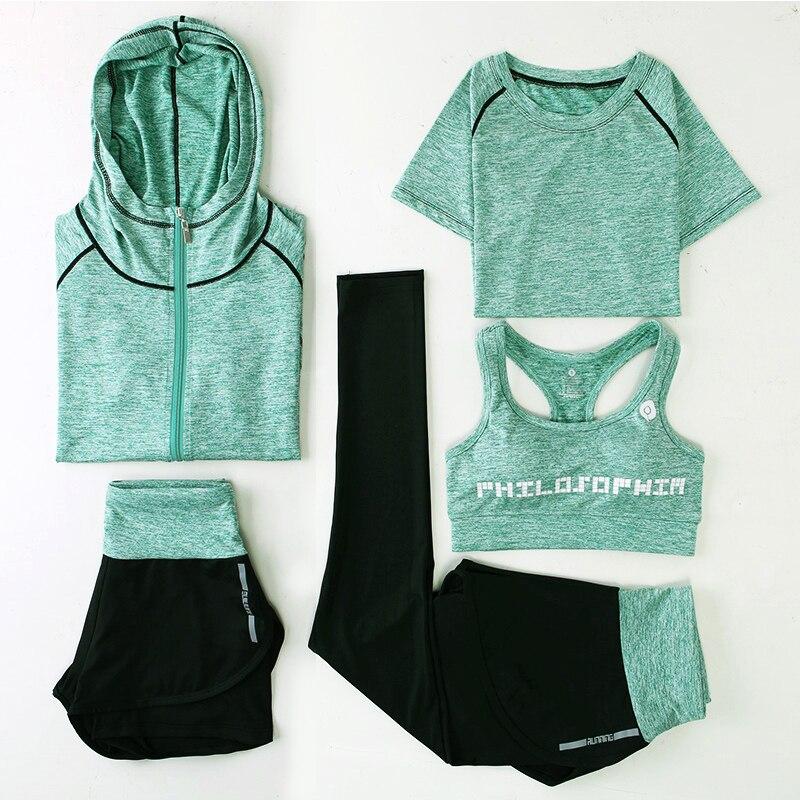 Nouveau Yoga Costumes Femmes Gym Fitness Vêtements Courir Survêtement Sport Soutien-Gorge + Sport Leggings + Yoga Shorts + Top 5 pièce Ensemble Plus La Taille M-3XL