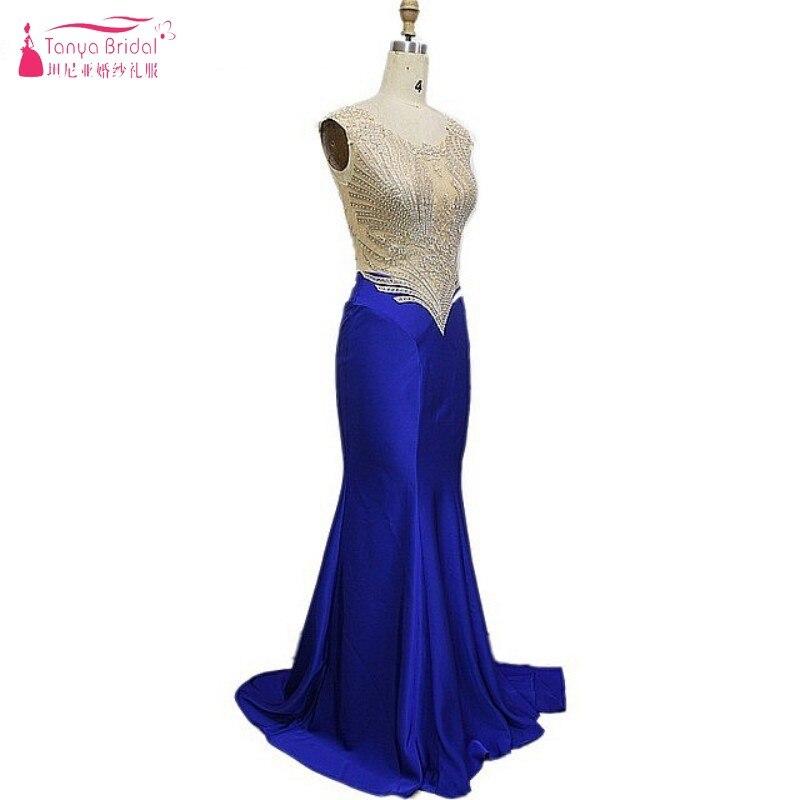 Sexy Illusion longue sirène bleu Royal balayage Train pure corps robes de bal 2018 robe formelle femmes robes de soirée robes festa