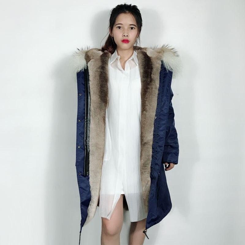 Fashiong New Blue Natural color Fur Jacket Parka Unisex Style Long Parka Design Big Collar Free shipping