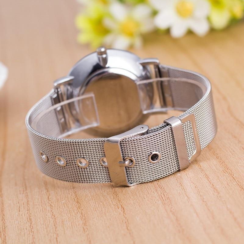 2017 nowa marka odzieżowa męski zegarek luksusowy srebrny pasek z - Zegarki damskie - Zdjęcie 4