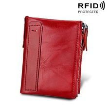 Купить с кэшбэком Genuine Cow Leather Women Wallets RFID Short Card Holder Purse Double Zipper Coin Pocket Vintage High Quality Wallets For Girl