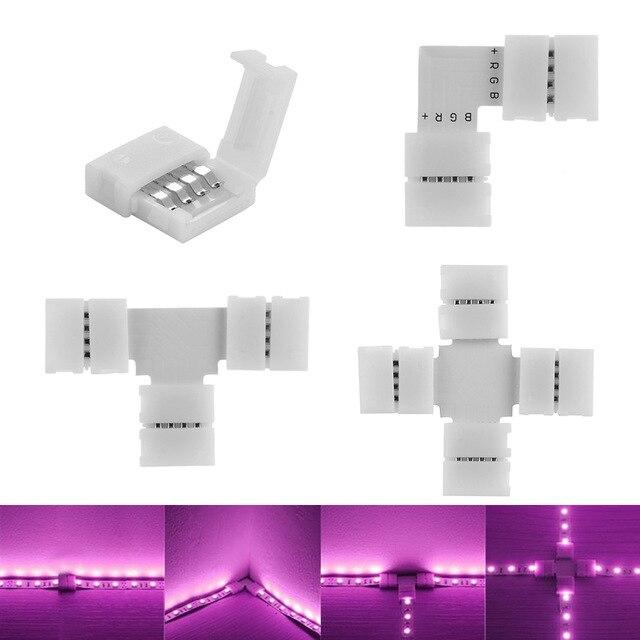 Jakość 10mm złącze 4 Pin L T krzyż kształt PCB lutowane złącze narożne złącze paska dla RGB 3528 5050 Led Strip Light