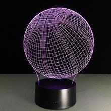 2017 USB Novelty 3D Visiual Led Night Light Basketball NBA Illusion Led Colourful RGB Touch Table Lamp As Home Decor