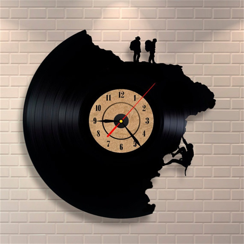 2019 New Arrivals Vinyl Record Wall Clocks Creative Antique Style Climbing Shape Quartz Clock Home Decor Gifts For Living Room