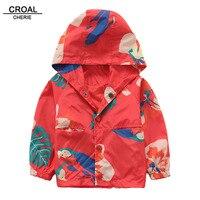 CROAL CHERIE 90 130cm Floral Trench Coats For Girls Windproof Children Kids Boys Jacket Windbreaker Autumn