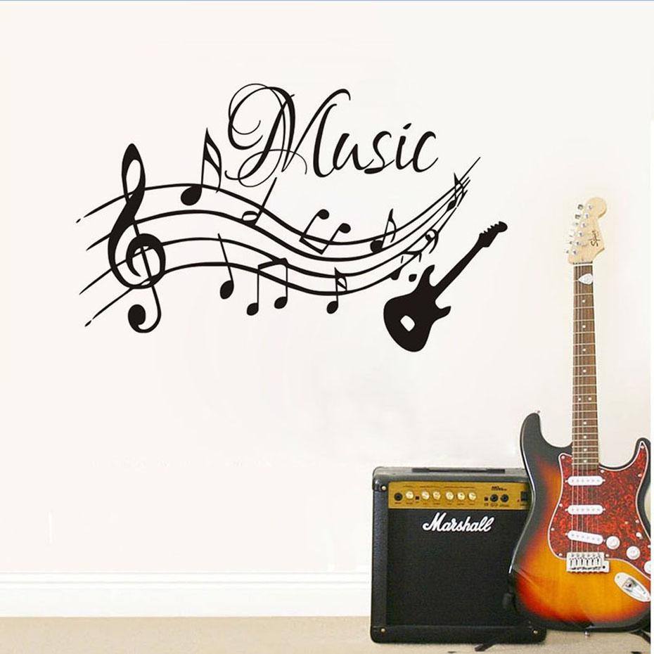 Notes de musique musique guitare Sticker mural pour enfants