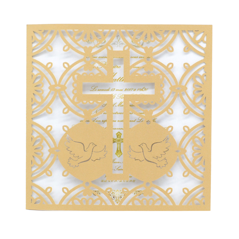 Us 23 0 2019 New Idea Product Design Christening Baptism Invitation Card Laser Cut Cross Wedding Invitation Card In Cards Invitations From Home