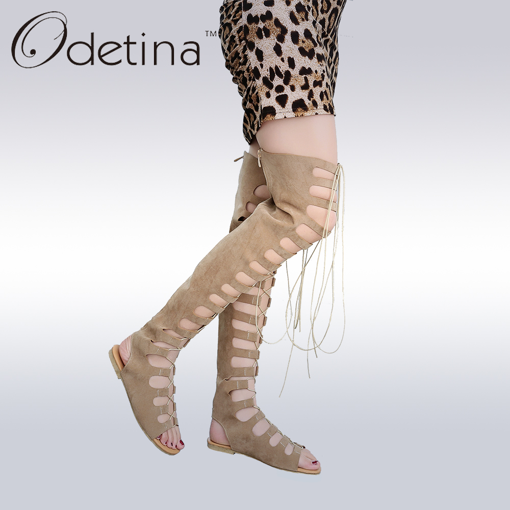 Odetina Sexy Cut Out Gladiator Sandals Fashion Suede Womens Thigh High Summer Boots Hollow Out Over The Knee Flat Boots Big Size lcx 2017 summer pvc hollow out sandals glitter flat stock the bird nest hole wholesale or retail