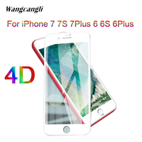 4D HD Tempered Glass For iPhone6 6S 7 7S 6 7Plus Premium glass full Cover Tempered Glass Screen Protector Protective glass 9H