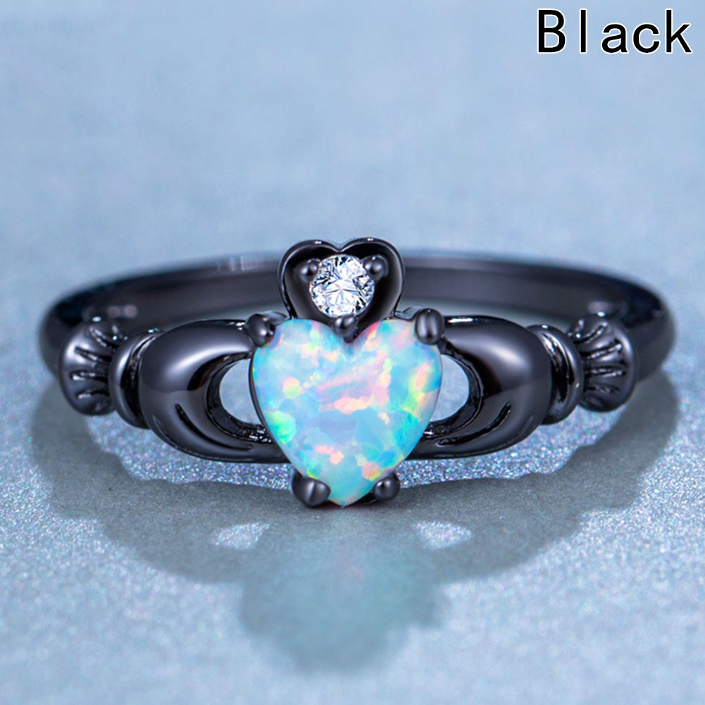 Charming Heart Zircon Ring Shape Fire Opal Rings For Women Wedding Band Vintage Black Gold Filled White AAA