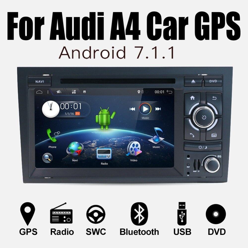 Quad Core 7 pouces Android 7.1 lecteur DVD de voiture pour Audi A4 2003-2008 écran tactile Audio Bluetooth dans le tableau de bord voiture stéréo GPS Navigation