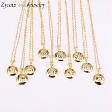 10 нитей ZYZ298-2774 письмо дизайн заглавная буква Ожерелье Женщины Мужчины медные, золотистого цвета ожерелье с буквами алфавита ювелирные изделия