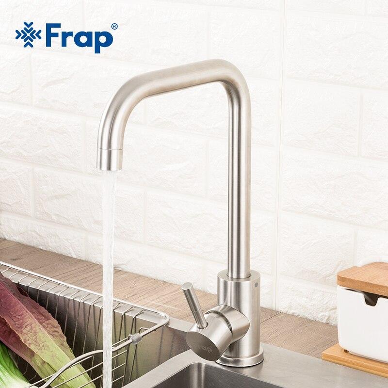 Grifo de cocina de acero inoxidable Frap, grifo de lavabo giratorio de proceso cepillado con rotación de 360 grados, mezcladores de agua caliente y fría, grifo Y40107/8