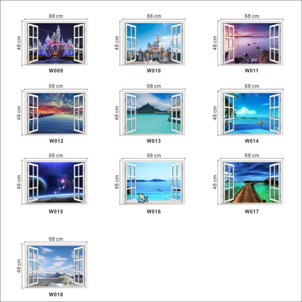 Removable Beach Sea 3d Window Landscape Scenery Wall Sticker Home Decor  Decals Mural Decal Exotic