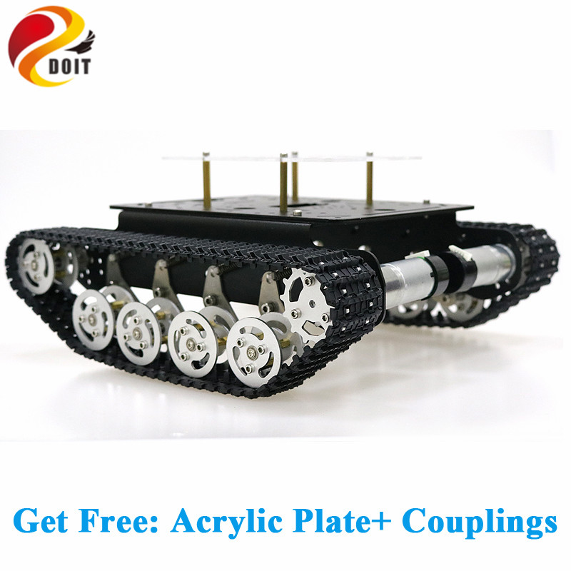 Metal Shock Absorper Smart Robot Tank Chassis with Dual DC Motor Plastic Tracks Aluminum Alloy Wheels for Arduino Project TS100 metal aluminum alloy smart robot tank