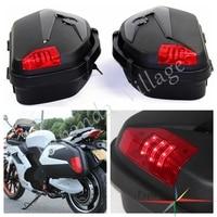 Universal Motorcycle Saddle Bag Box Side Case Side Pannier Cargo w/ LED For Honda Suzuki Kawasaki BMW Yamaha FZ
