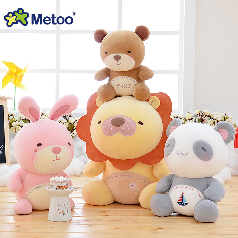 10 tums plysch söt härlig fylld baby barn leksaker för tjejer födelsedag julklapp 25cm lejon kanin björn panda metoo docka
