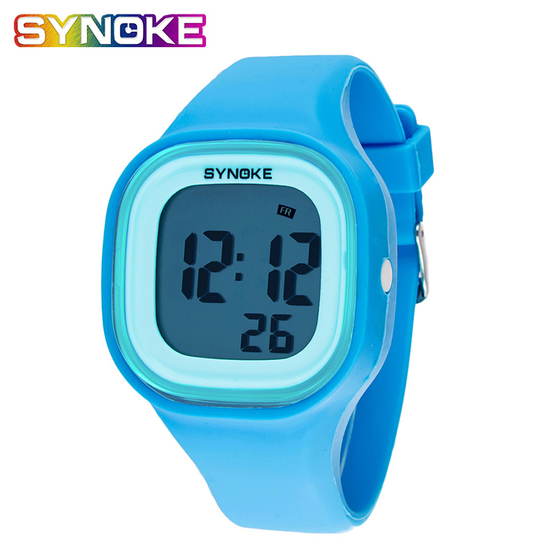 SYNOKE Pure Color Simple Men's Women's Electronic Watches Waterproof Colorful  Silica Gel Digital Electronic Watch Kid's Watch