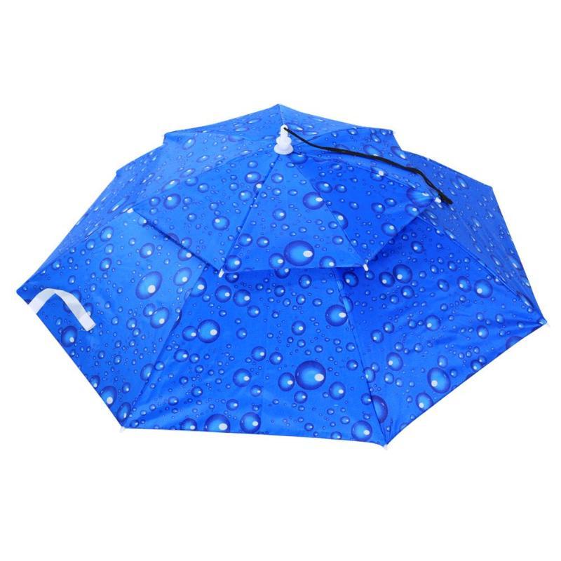 Портативный складной головной зонтик шляпа анти-дождь Открытый Кемпинг Туризм Рыбалка солнце зонтик от солнца колпачок для зонтика - Цвет: Синий цвет