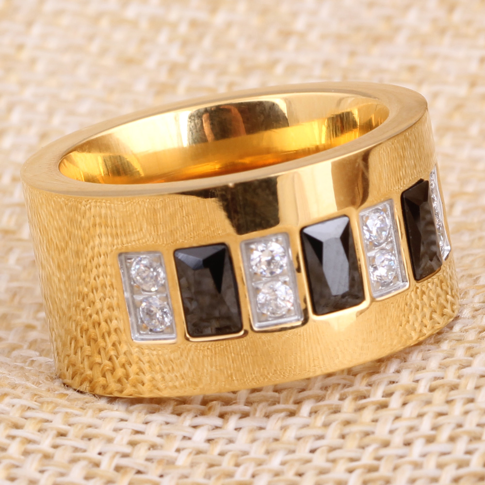 Fashion Gold Color 316L Stainless Steel Wedding Ring With Black and - Fashion Jewelry - Photo 4