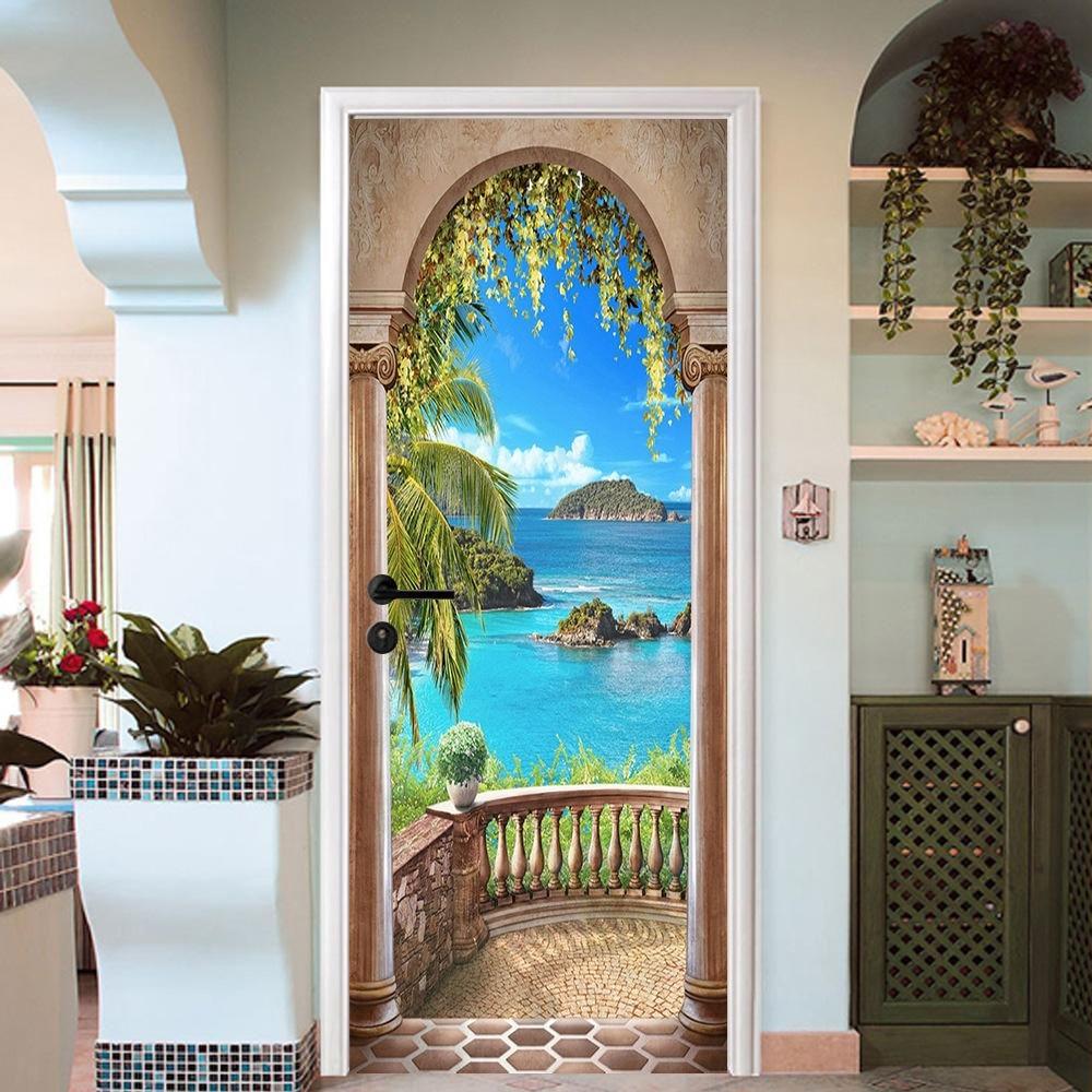 3d Wallpaper For Kid Bedroom Free Shipping Hot Corridor Sea Door Wall Stickers Diy