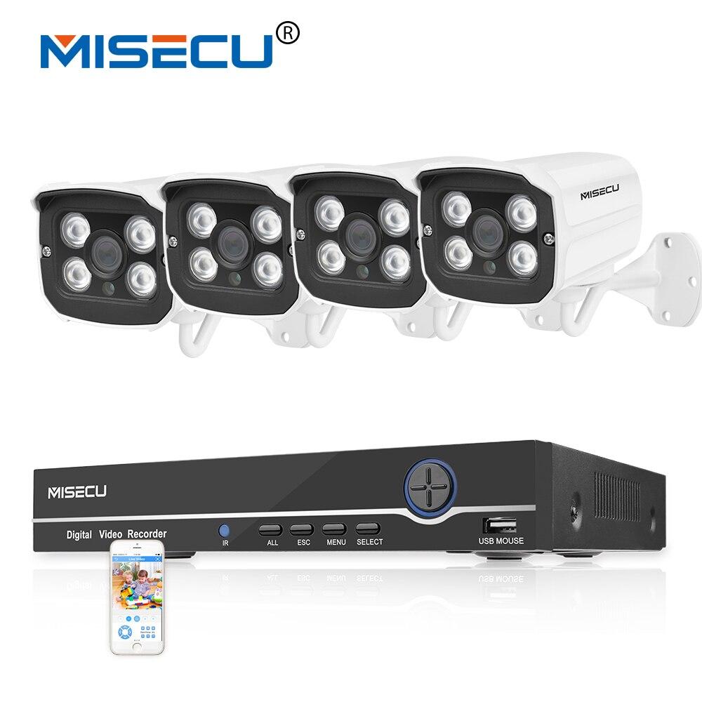4CH Réel HD POE NVR 48 V Onvif 1080 P HDMI 4 rangée IR Led POE NUIT 4 pc étanche P2P POE nuage système de Surveillance caméras kit