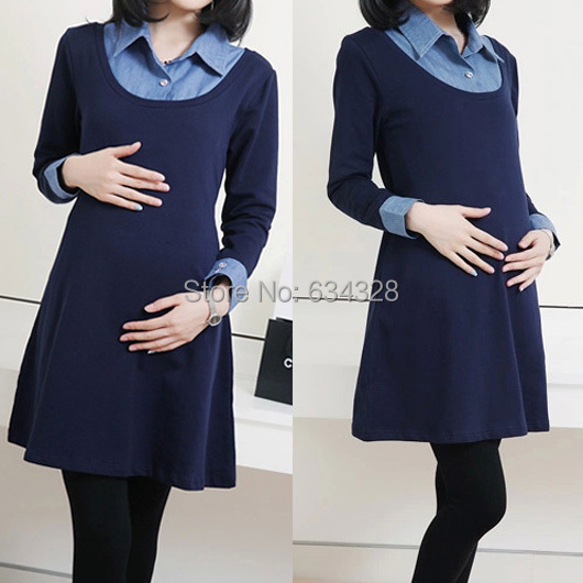 comprar otoo invierno denim patchwork falsos dos piezas de vestidos de maternidad para las mujeres embarazadas ropa de embarazo de