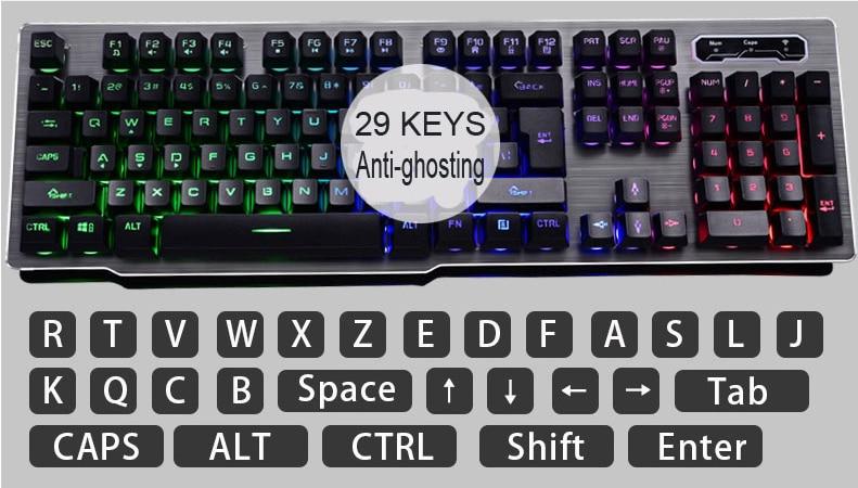 carregamento backlight teclado sem fio painel de liga adequado para desktop