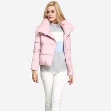 Зима Новый женщин куртка 2016 Мода Плюс Размер Высокой Шеей Косой Молнией Короткая Куртка Хлопка