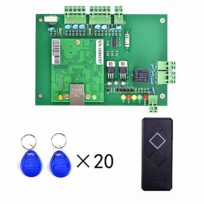 1 Pcs Card Reader+ 20 RFID Card+Free English Software +TCP/IP One Door Access Control Board Green Board TCP/IP tcp ip network l04 intelligent four door one way door access control panel for four door control support english software