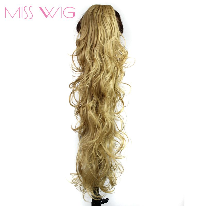 MISS WIG 20 tums Ponytail Wavy Hair Extension 14Color Tillgängliga Syntetiska Fake Ponytails 200g High Temperature Fiber