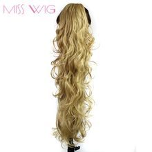 MISS WIG 20 Inchs Ponytail Wavy Hair Extension 14Color Available Synthetic Fake Ponytails 200g High Temperature Fiber
