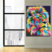 Artwork Pictures DIY Painting By Numbers Artistic Abstract Colorful Lion Wall Frameless Acrylic Handpainted Home Decoration