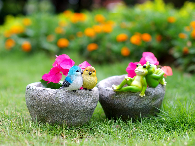 Oiseau et grenouille assis pierre pot de fleur résine artisanat maison animaux décoration de la maison accessoires moderne