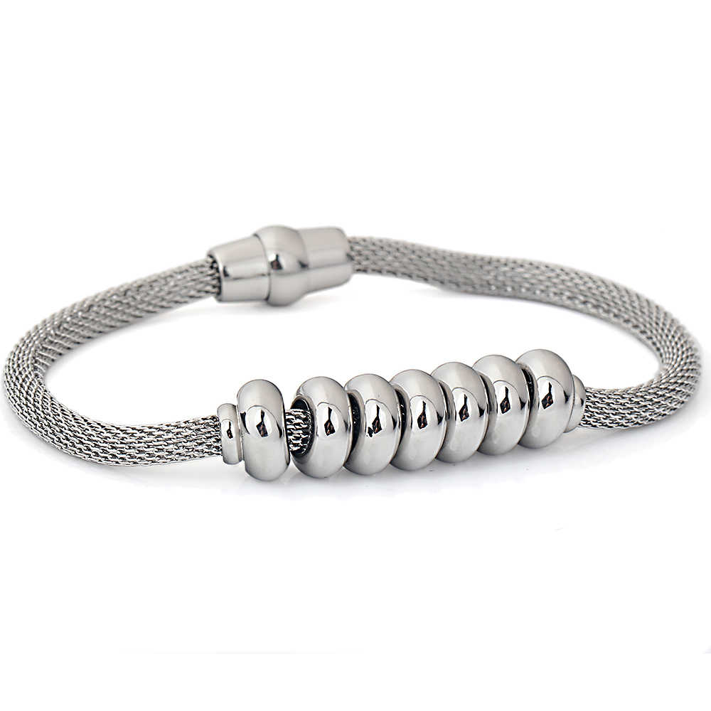 New Arrival 2019 Net Chain Bracelet With Magnet Clasp Fashion Stainless Steel Beads Charm Bracelets Jewelry for Women