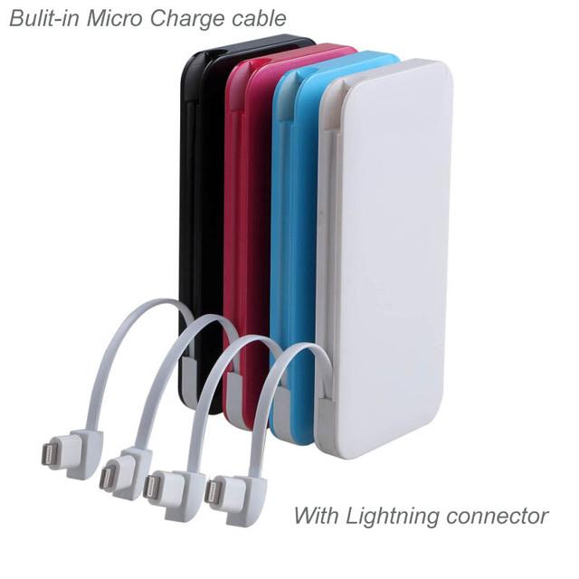 Moda delgado 4000 mah banco de alimentación para iphone ipod ipad samsun xiaomi teléfono móvil batería de reserva externa con cable portátil
