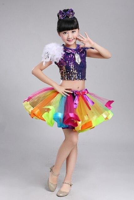 child jazz dance costume for girl top skirt hip hop dance costume