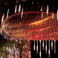 Hot30cm Tubos Chuva de Meteoros Chuva Luzes De Natal Levou Lâmpada 100-240 V Ao Ar Livre Luz Do Feriado de Ano Novo Decoração Quente branco