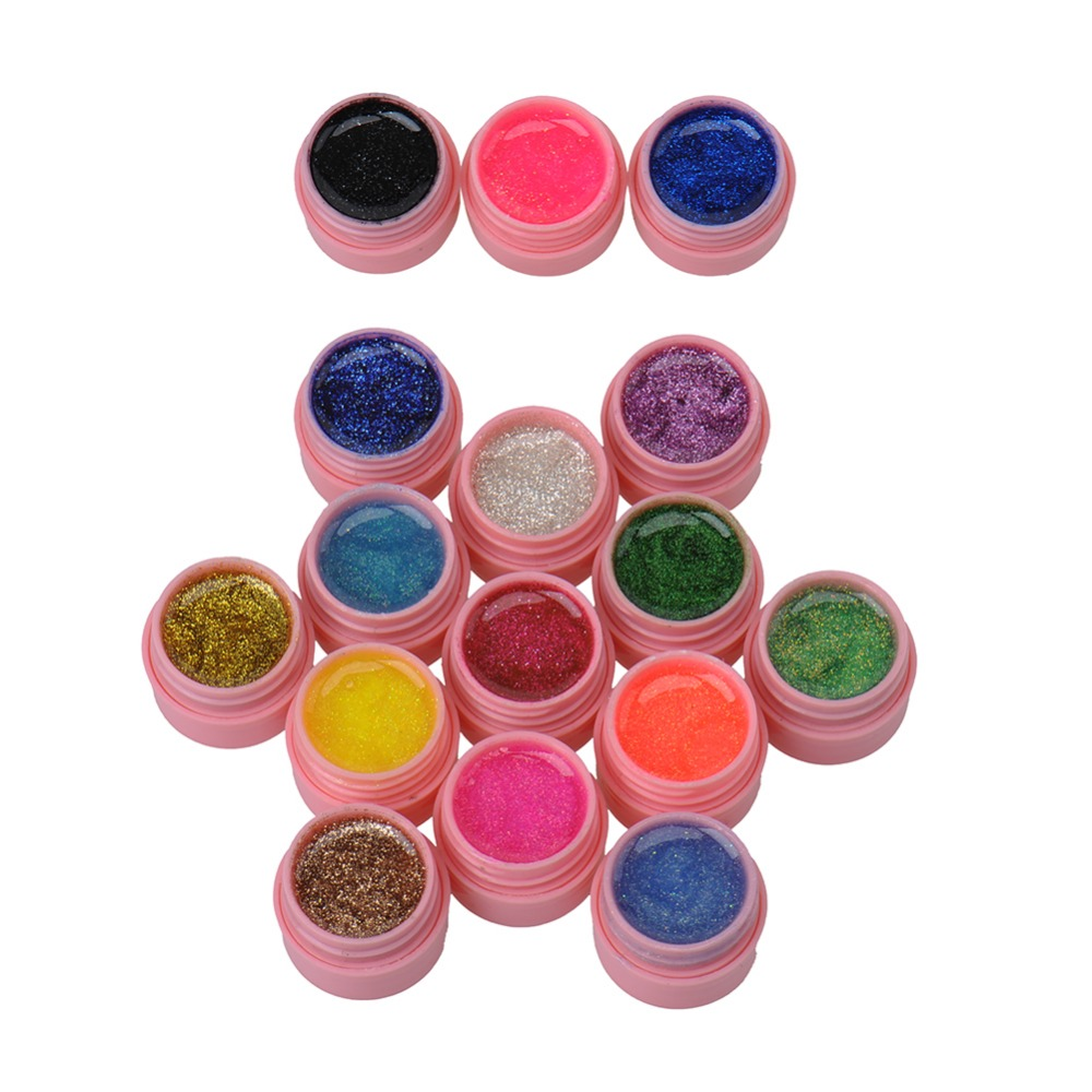 Online color mixer tool - 16 Pot Lot Nail Varnish Mix Pure Glitter Pure Color Uv Builder Gel Nail Art Tips Shiny Cover Extension Manicure Gel Tool