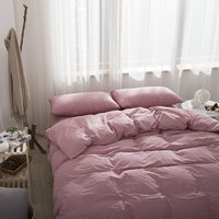 Duvet Cover Minimalistic Style Pink Stripe Bedding Soft Washed Microfiber Comfy Comforter Cover Pillow Shams 4 Pieces Sets