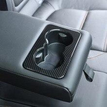 Углеродного волокна Стиль ABS для Jaguar F-темп X761 XE X760 XF X260 заднего сиденья держатель стакана воды крышка отделка Аксессуары
